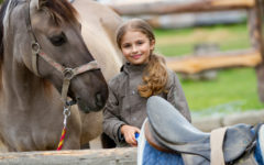 Horse and lovely girl on a ranch